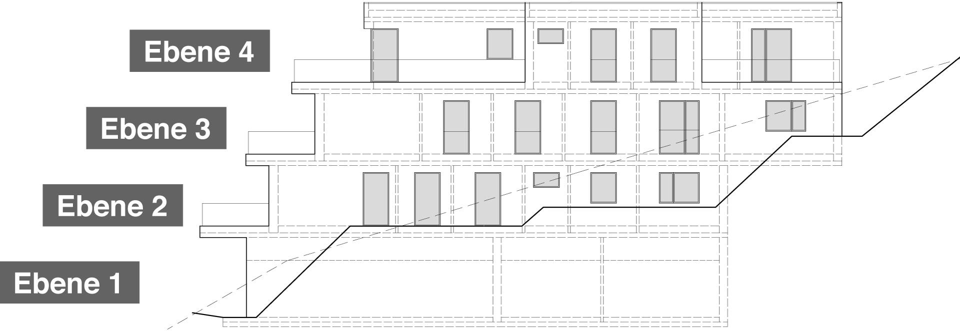 Ostansicht Haus 1 mit 7 Eigentumswohnungen