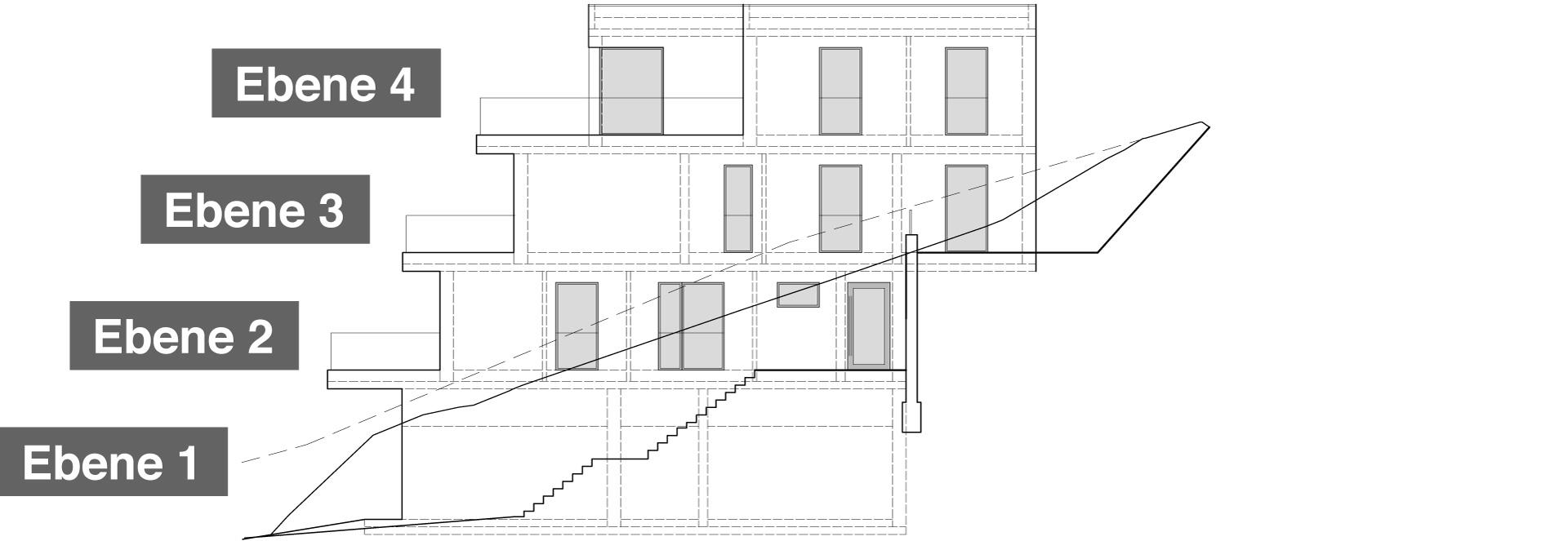 Ostansicht Haus 3 mit 5 bzw. 6 Eigentumswohnungen