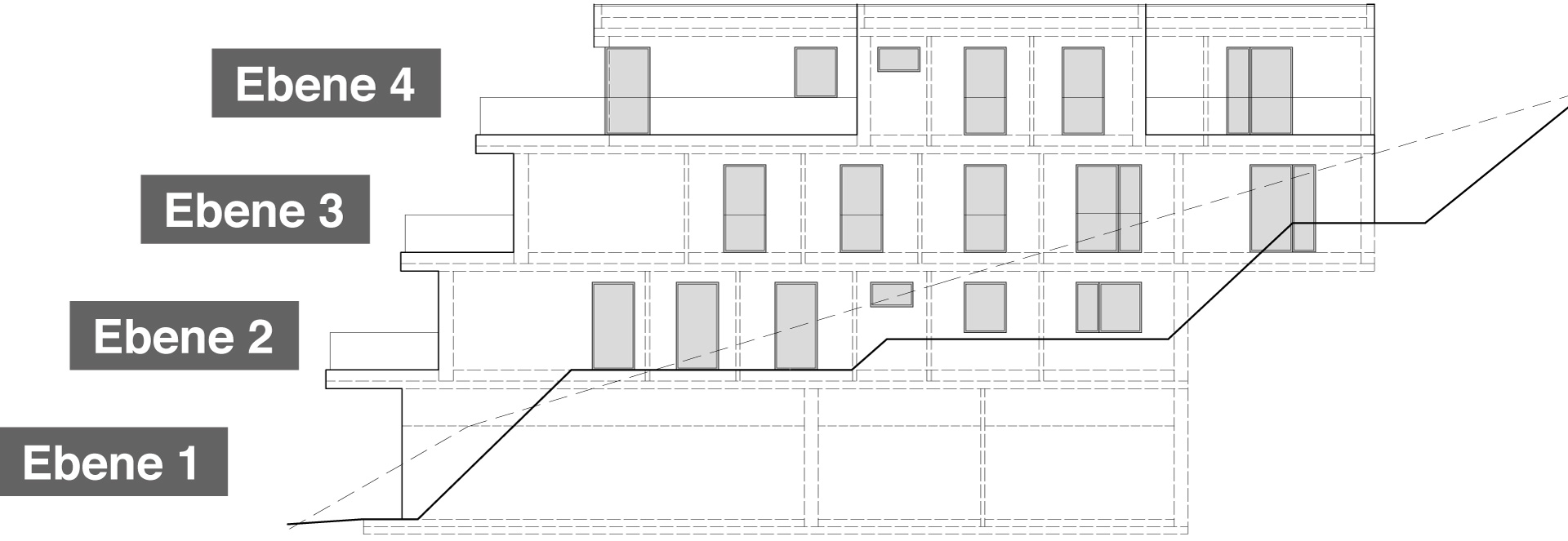 Ostansicht Haus 1 mit 7 Eigentumswohnungen auf 3 Wohnetagen