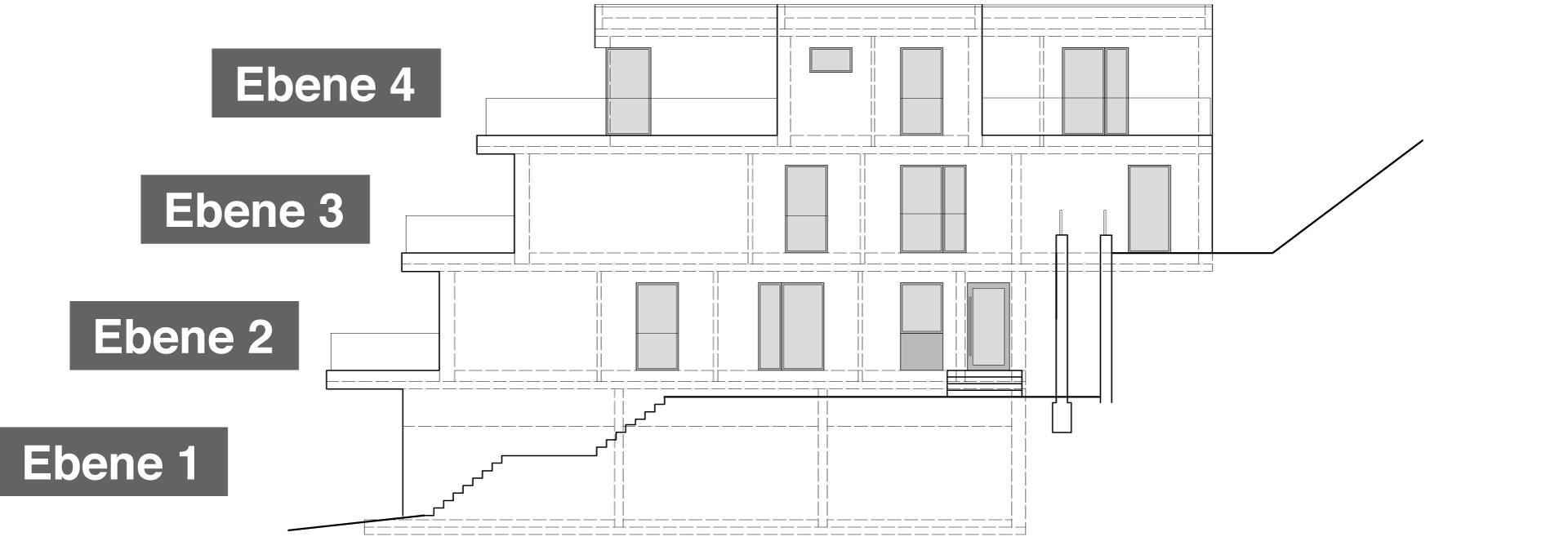 Ostansicht Haus 2 mit 7 Eigentumswohnungen auf 3 Wohnetagen